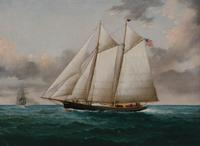 Two-Masted American Yacht by William G.  Yorke (1817-1892)