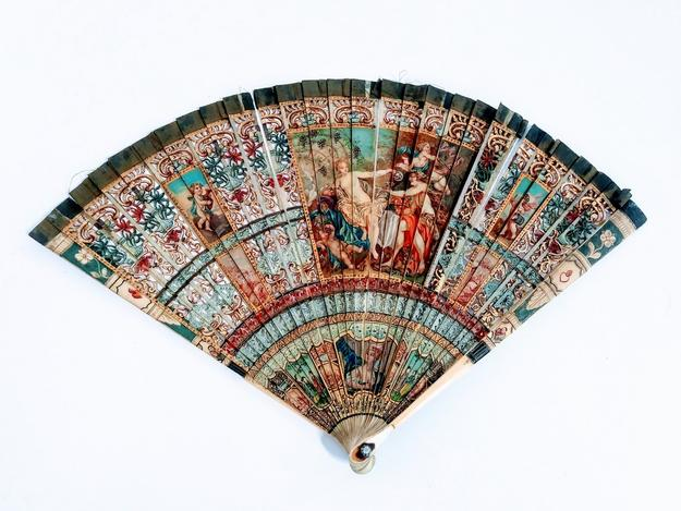 This antique French handpainted fan will be offered in June.