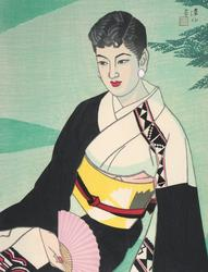Ito Shinsui (1898-1972) Green Garden, woodblock print, 1956