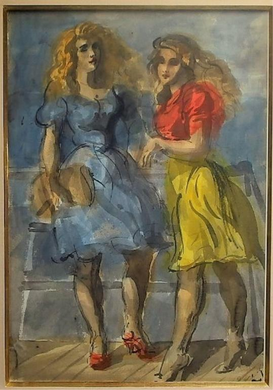 Double-sided watercolor painting by the American Social Realist Reginald Marsh (1898-1954), one of seven works by Marsh in the auction.