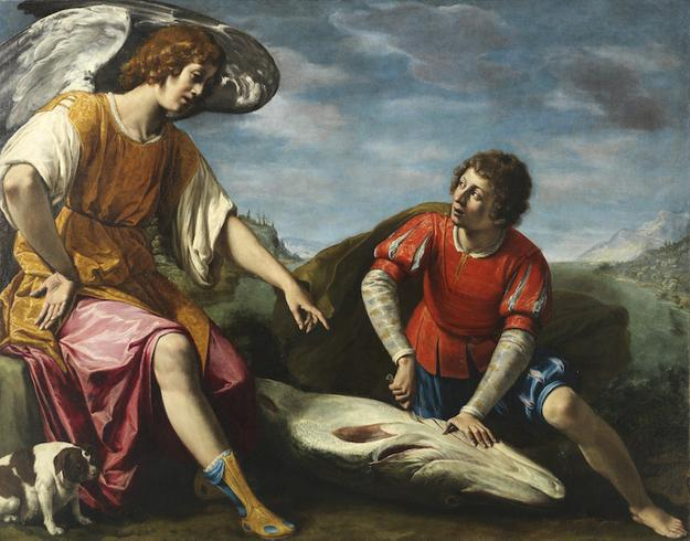 Filippo Tarchiani, Tobias and the Angel.  Firenze, 1576 - Firenze, 1645.  Oil on canvas, 136 by 173 cm - 53,5 by 68,1 in.
