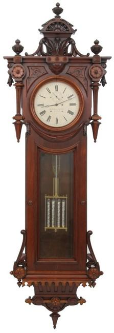 "This E.  Howard & Co.  No.  49 hanging regulator ($100/150,000) has its original 14-inch painted metal dial signed ""E.  Howard & Co., Boston,"" brass, signed 8-day weight driven time only movement, 104 inches tall."