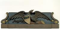 Samuel McIntire (1757-1811).  Sign from first U.S.  Custom House.  1805, Salem, Massachusetts.  Painted and gilded pine.