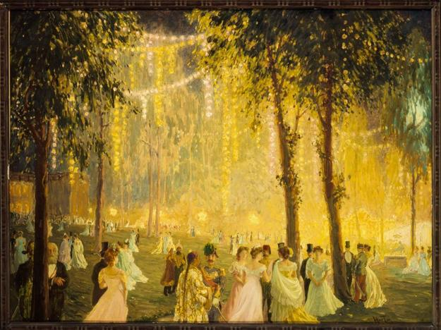 William Samuel Horton (1865–1936), Nighttime Festivities Held by President Loubet at the Elysée Palace in Honor of Alfonso XIII, 1905, oil on cardboard, Musée Carnavalet, Paris, © Musée Carnavalet/Roger-Viollet