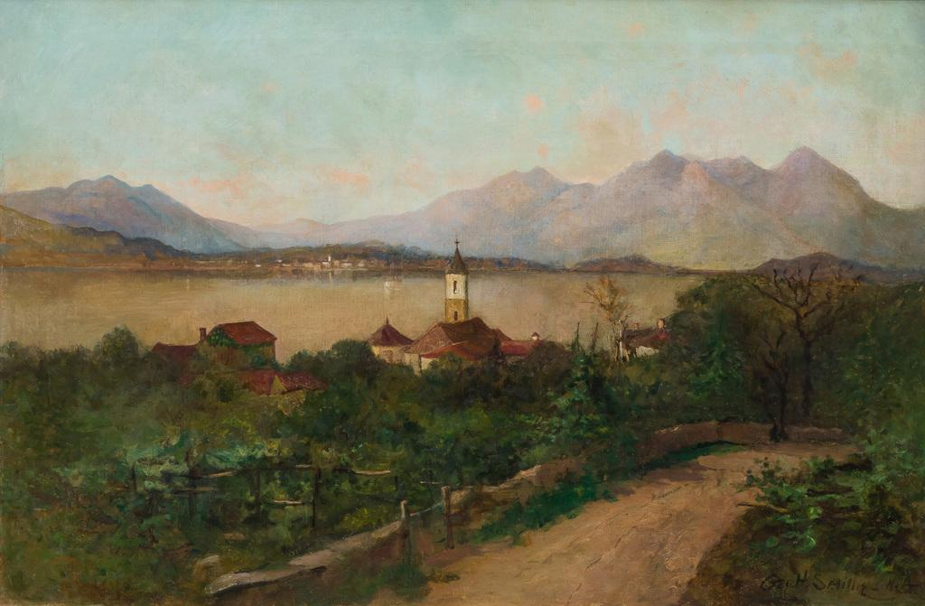 GEORGE HENRY SMILLIE, American (1840-1921), River Landscape with Mountain View, oil on canvas, signed, 20 x 30 inches, Estimate:$3,000-5,000
