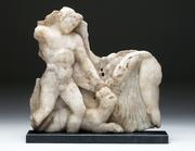 Lot 59E: Large Roman Marble Relief - Satyr & Maenad