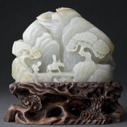 Very Fine Antique Chinese Carved Jade Boulder on Stand
