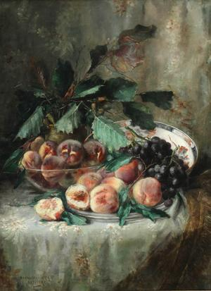 Berthe Vermorchen (Belgian 19th-20th Century), Cloth Table Top Still Life of Peaches and Grapes, oil on canvas ($2,000-$3,000)