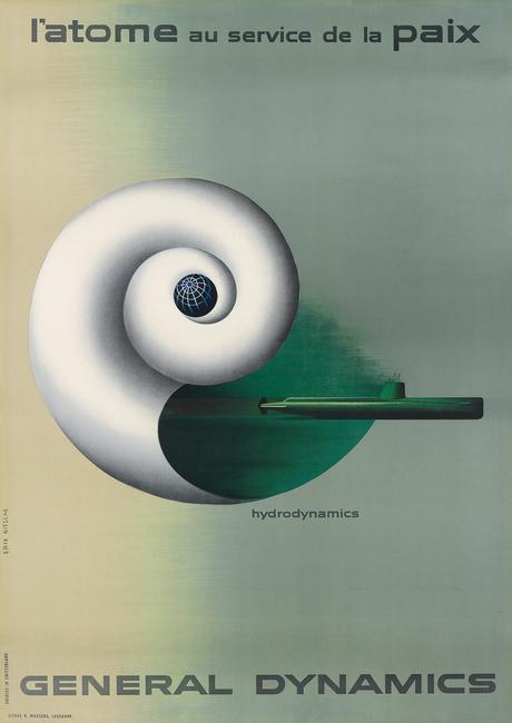 Lot 117: Erik Nitsche, General Dynamics / Hydrodynamics, 1955.  From the Gail Chisholm Collection.  Estimate $2,500 to $3,500.