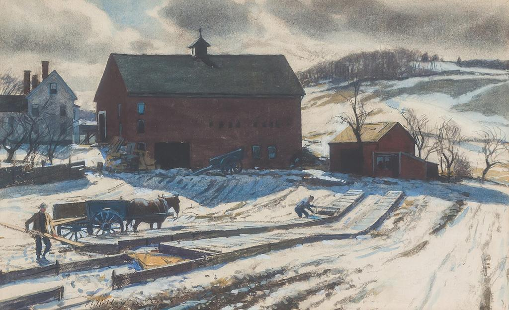 "AIDEN L.  RIPLEY, American (1896-1969), Thaw at Hot House, watercolor and gouache on paper, signed ""A.L.  Ripley"" lower left."