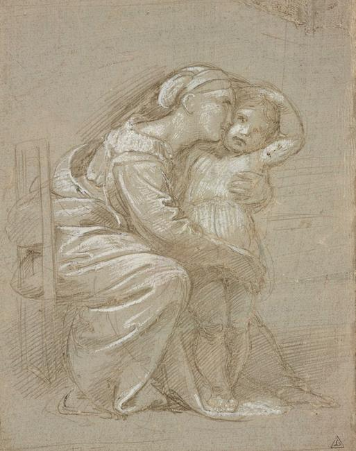 A seated mother embracing her child, c.  1512Metalpoint with white heightening on grey prepared paper, selectively indented for transfer, 16.1 x 12.6 cm© Ashmolean Museum, University of Oxford
