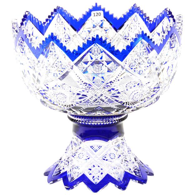Beautiful cobalt cut to clear BPCG piece, 11 ½ inches by 12 inches, with hobstar, strawberry diamond, cane and zipper motif, attributed to Val St.  Lambert.