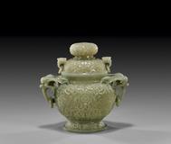 Carved Celadon Jade Censer