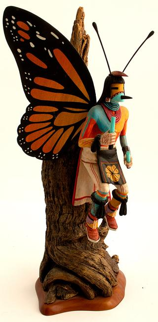 Butterfly kachina doll by Lawrence Acadiz (1964-2014), a member of the Deer and Kachina clans of the Hopi tribe, dated 1995 (est.  $300-$500).