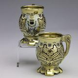 Tiffany & Co.  Mackay Silver Gilt and Enamel Coffee Cups, $5,000-7,000