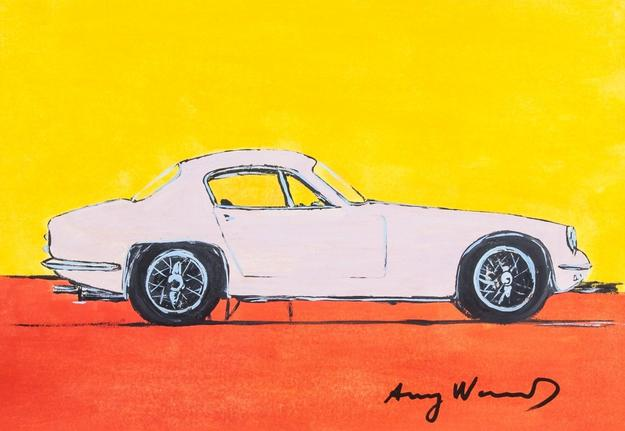 Lot 138, an attributed Andy Warhol (American, 1928-1987) Mixed Media on Paper, featuring an automobile.  Accompanied with a certificate, this original piece hails from a Southern Ontario estate and is unique in its subject matter and colors.  It is expected to exceed its high estimate of $8,000.