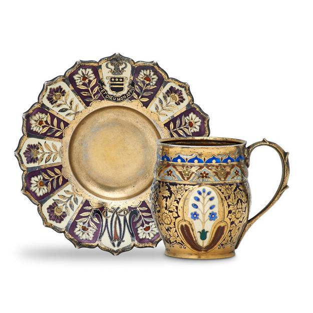 Lot 1: Tiffany & Co.  Mackay Demitasse Cup and Saucer, $3,000–5,000
