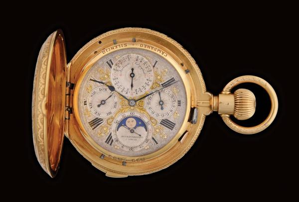 Rare and important circa-1880 Henri Grandjean & Co., Grande Sonnerie clock-watch with minute repeater, hand-decorated 18K yellow gold hunter's case engraved birds and flowers.  Complications include leap year perpetual calendar, moon phase and quarter-hour passing strike chime that can be silenced.  Estimate: $20,000-$40,000
