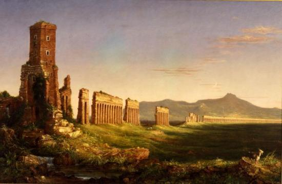 "Aqueduct near Rome, c.  1832.  Oil on canvas 44 1/2 x 67 5/16"".  University purchase, Bixby Fund, by exchange, 1987."