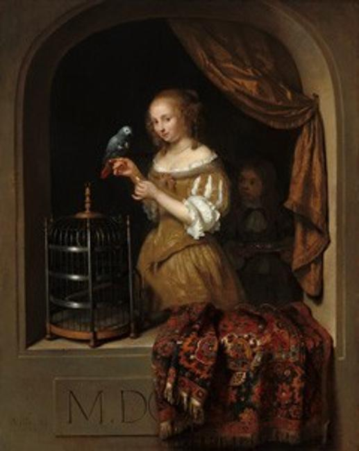 "Caspar Netscher, ""A Woman Feeding a Parrot, with a Page,"" 1666, oil on panel, National Gallery of Art, Washingotn, The Lee and Juliet Folger Fund"