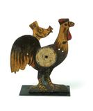 "Lot 50: ROOSTER SHOOTING GALLERY TARGET.  Made by Wurfflein Company, Philadelphia, early 20th century, cast iron.  15"" h.  Est.  $5,000-7,000"