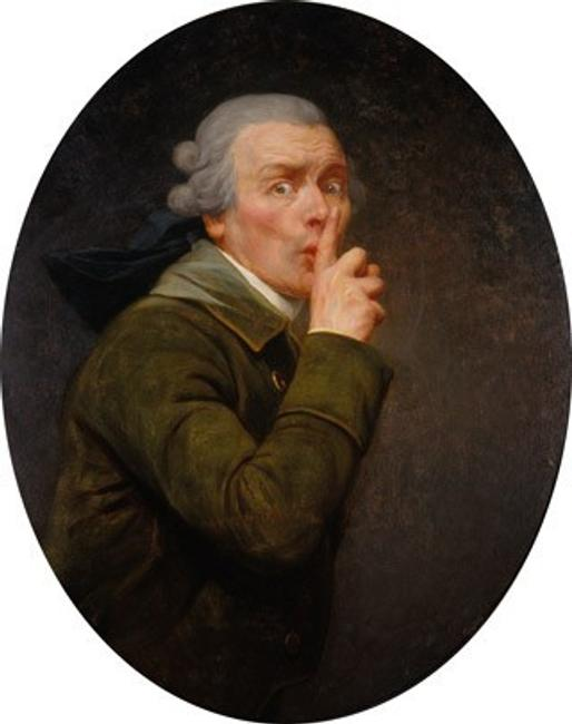 Joseph Ducreux, Le Discret, c.  1791 oil on aluminum, transferred from canvas Spencer Museum of Art, The University of Kansas