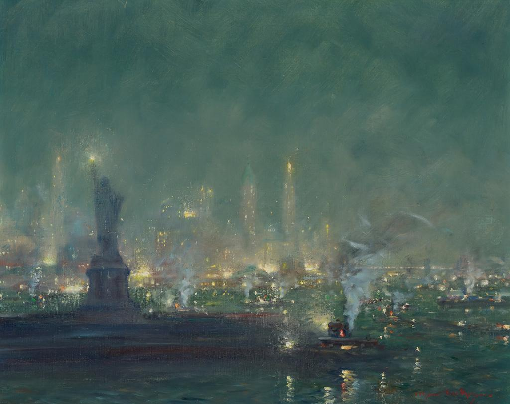 "Lot 14 JOHANN BERTHELSEN American (1883-1972) Nocturne (Statue of Liberty and Manhattan Sky Line) oil on canvas, signed lower right ""Johann Berthelsen"" 20 x 25 inches Estimate $10,000-15,000"