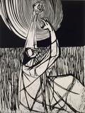 Samella Lewis, Field, 1968, linocut print, 24 x 18 inches, 61 x 45.7 cm, ed.10