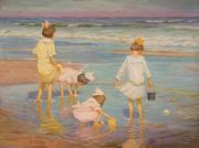 "EDWARD HENRY POTTHAST, ""Wading"", oil on board, 11 1/4 x 15 1/2 in., estimate: $30,000-50,000"