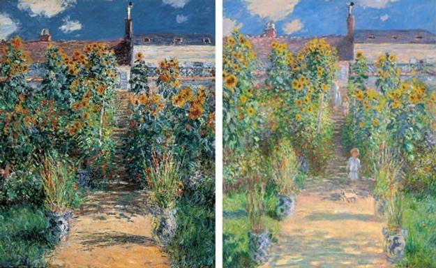 Left: Claude Monet, The Artist's Garden at Vétheuil, 1881, oil on canvas, The Norton Simon Foundation; right: Claude Monet, The Artist's Garden at Vétheuil, 1880, oil on canvas, National Gallery of Art, Washington, Ailsa Mellon Bruce Collection.