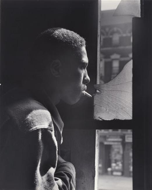 Gordon Parks, Trapped in abandoned building by a rival gang on street, Red Jackson ponders his next move, 1948, gelatin silver print, National Gallery of Art, Washington, Corcoran Collection (The Gordon Parks Collection)