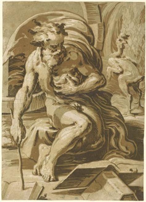 Ugo da Carpi, after Parmigianino Diogenes, c.  1527–1530 chiaroscuro woodcut from four blocks in light green, medium green, brown, and dark brown, state iii/iii sheet: 47.9 x 34 cm (18 7/8 x 13 3/8 in.) National Gallery of Art, Washington, Pepita Milmore Memorial Fund