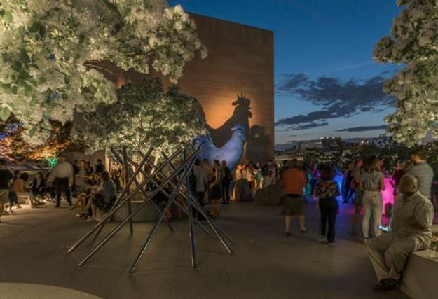 Visitors enjoy the East Building Roof Terrace during a recent Evenings at the Edge program.  National Gallery of Art, Washington