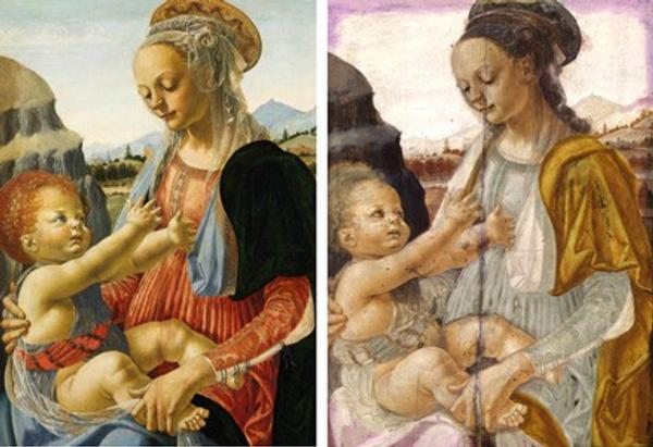 (Left) Detail of Andrea del Verrocchio's Madonna and Child (c.  1465/1470, Staatliche Museen zu Berlin, Gemäldegalerie, © bpk Bildagentur / Staatliche Museen, Berlin / Jörg P.  Anders./ Art Resource, NY).  (Right) The false-color composite image of the painting obtained with the Gallery's infrared reflectance imaging camera.