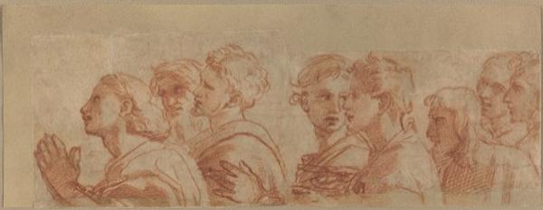 Raphael Eight Apostles, c.  1514 red chalk over stylus underdrawing and traces of leadpoint on laid paper, cut in two pieces and rejoined; laid down sheet: 8.1 x 23.2 cm (3 3/16 x 9 1/8 in.) support: 9.4 x 24.8 cm (3 11/16 x 9 3/4 in.) National Gallery of Art, Washington, Woodner Collection