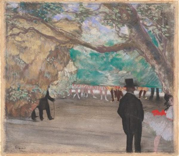 Edgar Degas The Curtain, c.  1880 pastel over charcoal and monotype on laid paper mounted on board National Gallery of Art, Washington, Collection of Mr.  and Mrs.  Paul Mellon