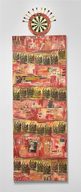 Jaune Quick-to-See Smith I See Red: Target, 1992 mixed media on canvas overall (three parts): 340.4 x 106.7 cm (134 x 42 in.) National Gallery of Art, Washington Purchased with funds from Emily and Mitchell Rales 2020.6.1