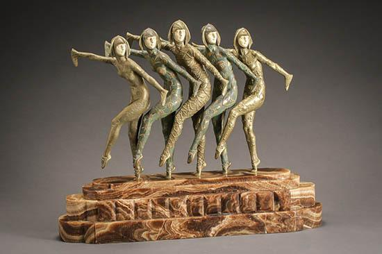 Demétre Chiparus (Romanian 1886-1947), Les Girls, chryselephantine cold painted bronze sculptures
