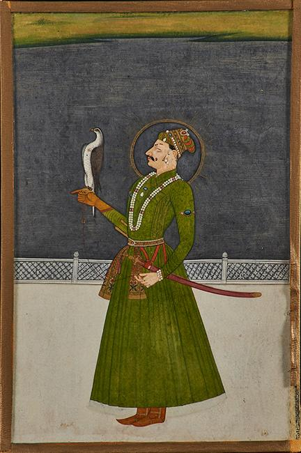 "Lot 1001 - Indian Manuscript Illustration Portrait of a prince with falcon, Kishangargh, late 18th c.; Gouache and ink with gilt details on paper (framed); 9"" x 5 3/4"" (sight) $3,000 – 4,000"