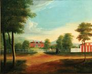 LANDSCAPE WITH HOUSE (AMERICAN SCHOOL, 1ST HALF-19TH CENTURY).  Oil on canvas, unsigned.  Detailed image of a well-kept Federal brick house.  Estimate $1000-1500