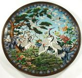 A large Chinese cloisonne charger, 20th century