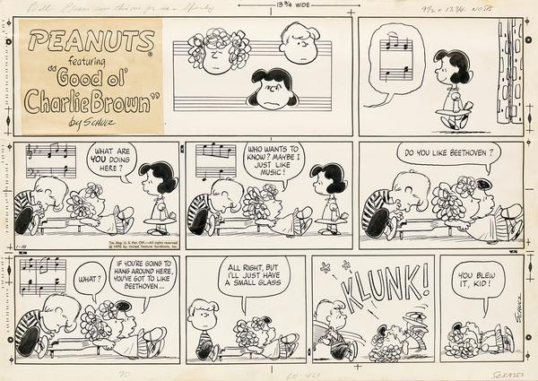Lot 183: Charles Schulz, Do you like Beethoven?, ink and graphite, signed and inscribed, for Peanuts, 1970.  Estimate $20,000 to $30,000.