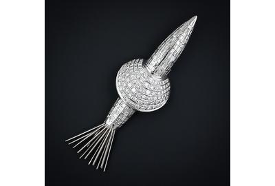 Mid-1960s Rocket Ship Brooch, platinum and diamonds.