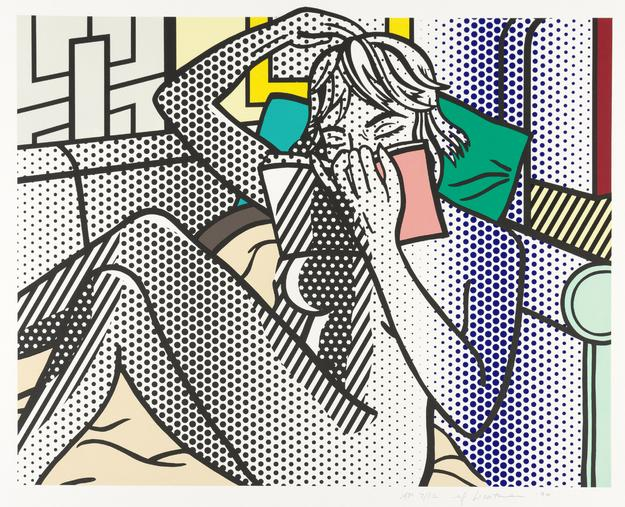 Roy Lichtenstein (1923-1997), Nude Reading, Color relief print, 1994.  Est.  $60,000-90,000.