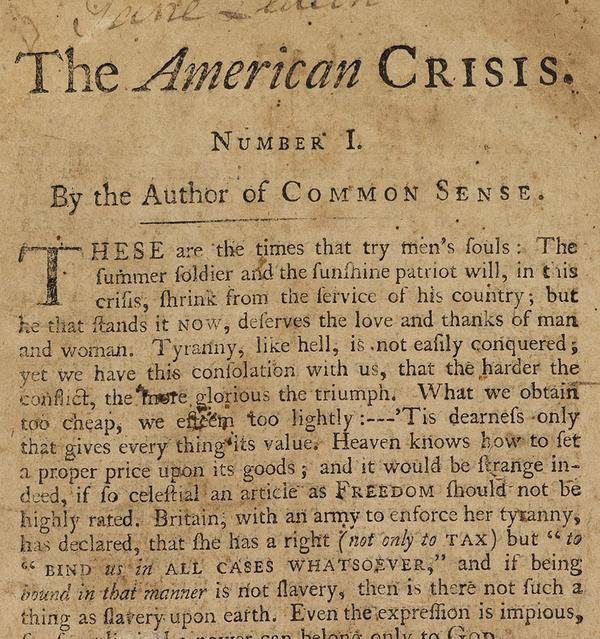 Lot 19: Thomas Paine, The American Crisis, Parts I & II, first separate edition, first state, Philadelphia, 1776-77.  Estimate $50,000 to $75,000.