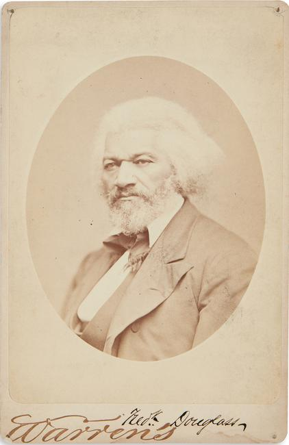 Lot 190: Frederick Douglass, signed albumen cabinet card, by George Kendall Warren, circa 1879.  Estimate $10,000 to $15,000.