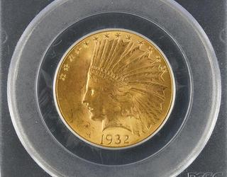 This 1932 $10 Indian Gold Eagle U.S.  coin, graded well at PCGS MS63, is expected to command $500-$700.