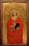 "Agnolo Gaddi, ""Saint Ursula"", ca.  1388-1393.  Egg tempera on wood.  SBMA, Gift of Mr.  Arthur Sachs."