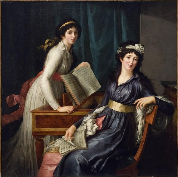 "Pauline Auzou, ""Two Women Making Music,"" ca.  1796.  Oil on Canvas.  SBMA, Gift of Mrs.  Hugh N.  Kirkland."