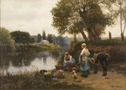 Daniel Ridgway Knight, Waiting for the Ferry, 1885.  Heckscher Museum of Art; August Heckscher Collection